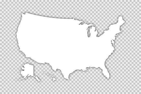 Usa map vector isolated illustration with shadow on transparent background. Web banner for concept design. United states map. Usa silhouette.