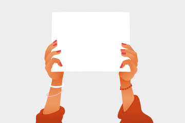 Female hands holding a white blank picket placard. Woman Feminist protest action vector illustration. The struggle for women's rights. Flat style.