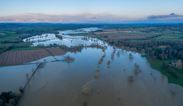 River Severn in Flood in Shropshire