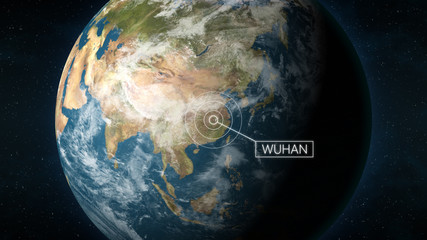 3D Illustration depicting the location of Wuhan, the capital of province Hubei, China, on a globe seen from space. Wuhan is known for the 2019 and 2020 coronavirus outbreak. Fototapete