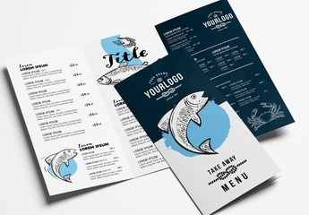 Seafood Restaurant Trifold Menu Layout
