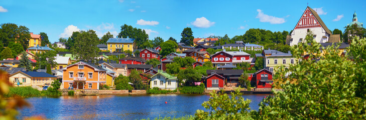 panorma of historical town of Porvoo in Finland Fototapete