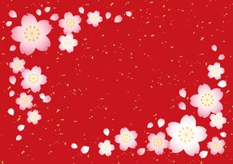 桜テクスチャ【和風赤】