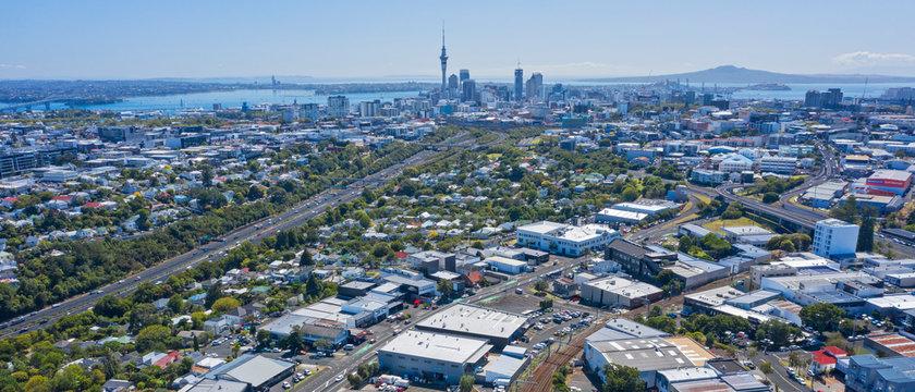 Auckland city with Harbour Bridge and Rangitoto volcanic island
