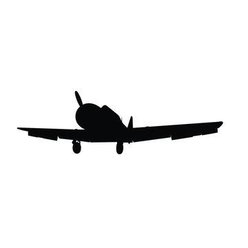 Vintage military air plane silhouette vector