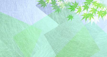 和紙を背景にしたカエデのシルエット