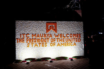 A sign at a hotel welcomes U.S. President Donald Trump in New Delhi, India,