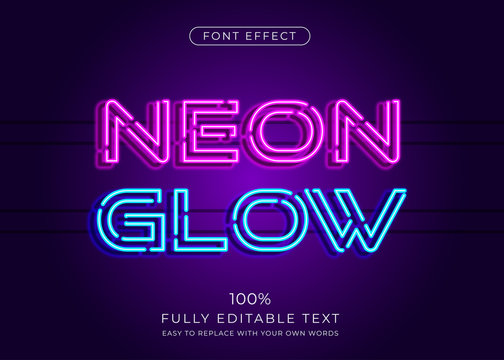 Neon light text effect. Editable font style