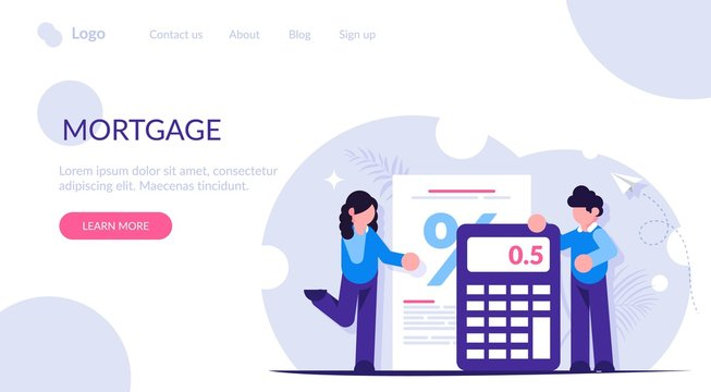 Mortgage calculator concept. Girl and the guy calculate the interest on the loan when buying a new house or apartment. Bank has a low interest rate. Landing web page template.