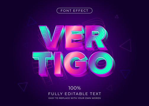 Modern vibrant 3d text effect. Editable font style