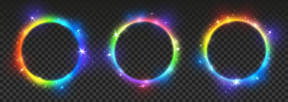 Set of bright rainbow neon circles with transparent effects - vector shiny round frames for Your design