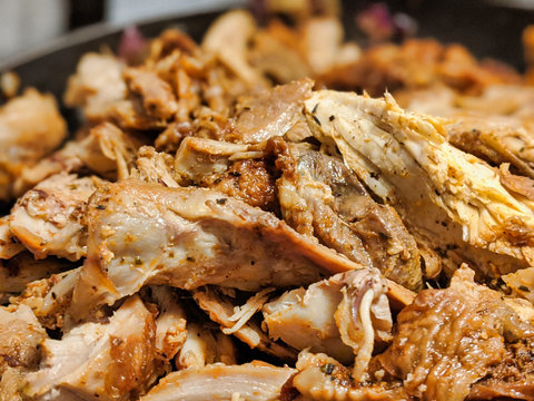 macro focus on shredded up cooked turkey meat