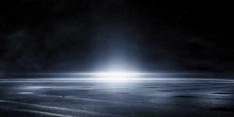 3D rendering wet asphalt reflection of neon lights and smoke on black background