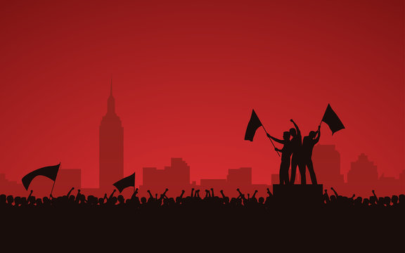 Silhouette group of protesters people raised fist and flags protest in city with red color sky background