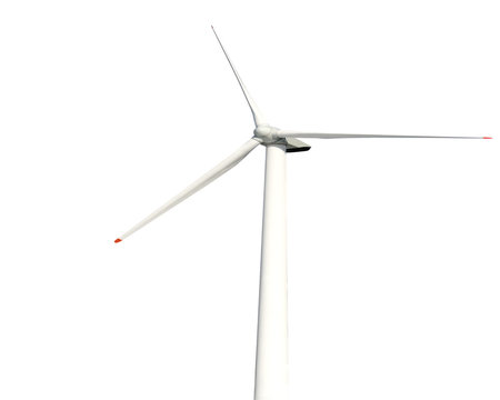 Green ecology concept of wind turbine isolated on white background.