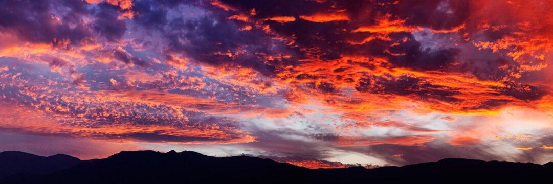 fantastic sundown over the desert of death valley