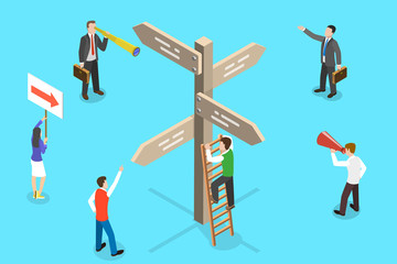 Isometric Vector Concept of Choosing the Right Direction. People are standing around the the Signpost Discussing Which Solution to Choose.
