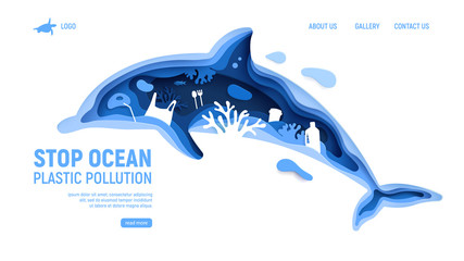 Ocean plastic pollution page template with dolphin silhouette. Paper cut dolphin with plastic rubbish, fish, bubbles and coral reefs isolated on white background. Paper art vector illustration