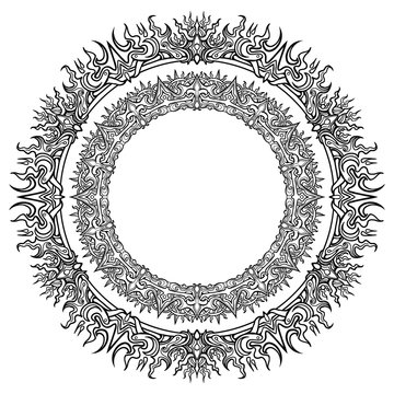 Beautiful circular pattern frame, with many small details symmetrically arranged around the perimeter. 2D illustration.