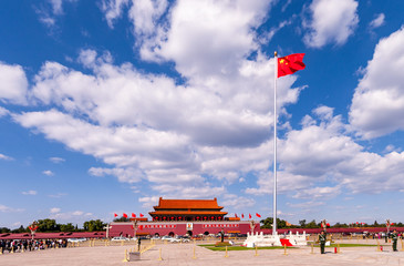 Tiananmen Square, Beijing. Tiananmen Gate Tower and Chinese national flag flying