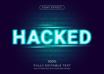 Hacker glitch effect with digital binary code background. Editable font style