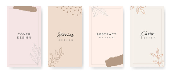 Fotobehang - Social media stories and post creative Vector set. Background template with copy space for text and images Design byabstract colored shapes,  line arts , Tropical leaves  warm color of the earth tone