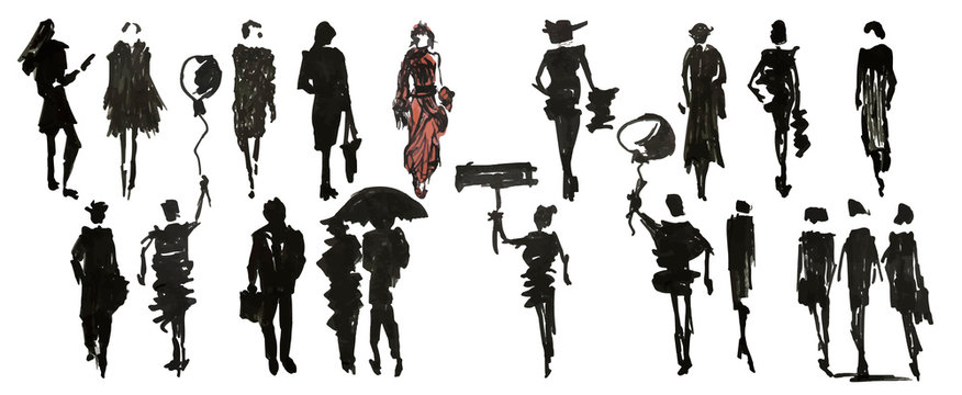 Set of different people, hand drawn marker sketch eps10 vector illustration isolated on white.