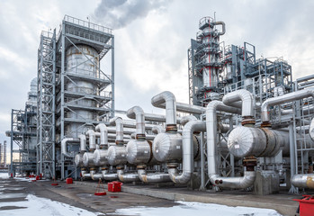 heat exchanger in an oil refinery, large size, daylight