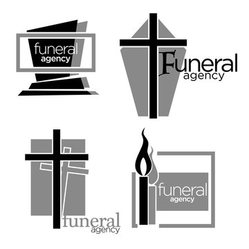 Interment and burial, funeral agency services isolated icons