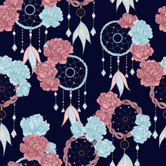 Vector hand drawn seamless pattern with dream catcher and peony flowers. Tribal background with hand drawn boho style elements peony and dreamcatchers. Best for wrapping, textile or print design
