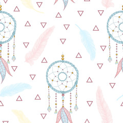 Vector hand drawn seamless pattern with dream catcher and feathers. Tribal background with hand drawn boho style elements feathers and dreamcatchers. Best for wrapping, textile or print design