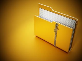 Zipped folder standing on yellow background. 3D illustration