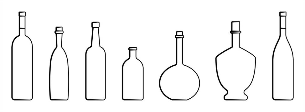 Set Of Bottles Of Different Shapes With A Narrow Neck. Glass Bottles For Various Drinks; Different Liquids. Vector Image Isolated On A White Background.