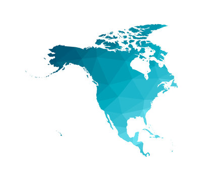 Vector modern illustration with simplified map of North and Cental America continent. Blue gradient colors, low poly triangular silhouettes, white background.