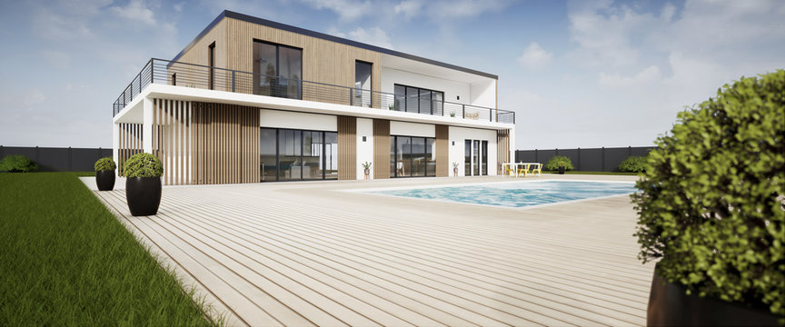 Perspective 3d grande villa avec piscine 02