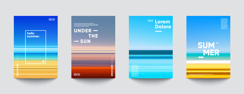 Summer backgrounds set. Creative gradients in summer colors. Ocean horizon, beach and sunsets.