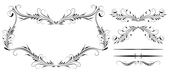 Wall Mural - Set vintage symmetric ornament, frame and decorative divider for greeting card, invitation postcard or text