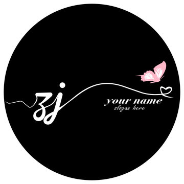 Initial ZJ logo handwriting vector butterfly illustration
