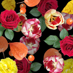 Fototapete - Beautiful floral background of roses, tulips and physalis. Isolated
