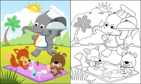 Cartoon of funny animals picnic in the park, coloring book or page