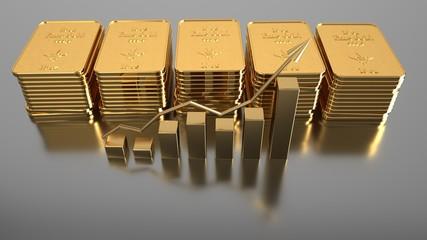 Fototapete - Rising gold prices on the stock market. 3d illustration.