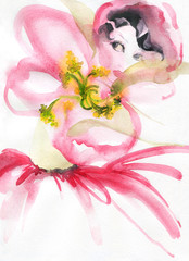 woman with flowers. beauty background. fashion illustration. watercolor painting