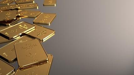 Fototapete - A 1Oz gold bars of a bank. 3d illustration.