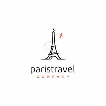 Paris eiffel tower with plane for travel logo design