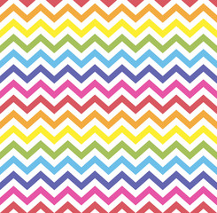 Rainbow seamless zigzag pattern, vector illustration. Chevron zigzag pattern with colorful lines. Retro rainbow background