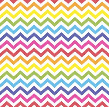 Rainbow seamless zigzag pattern, vector illustration. Chevron zigzag pattern with colorful lines. Retro rainbow background