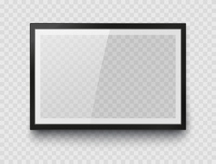 Frame mockup template isolated on transparent wall background. Realistic blank horizontal picture or photograph border. Vector glass black photoframe for interior artwork design..