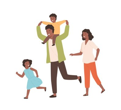 Smiling family playing having fun together vector flat illustration