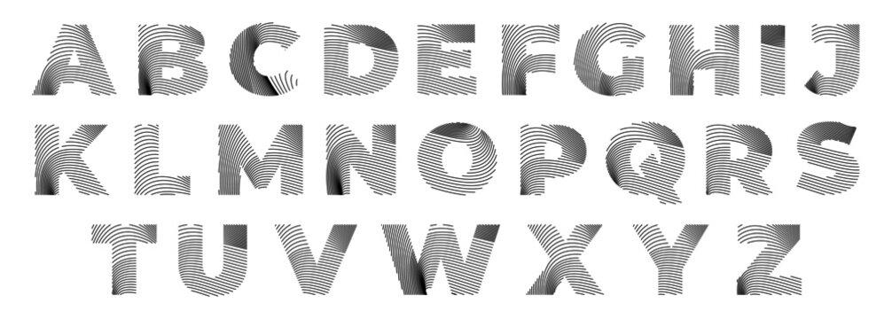 minimalist font with dynamic line art, alphabet vector typeset