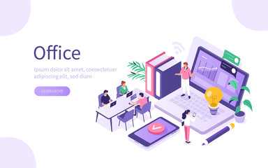 Business People Characters in Coworking Place. Businessman and Businesswoman Working, Discussing and Meeting in Open Space Office. Coworkers and Freelancers Team. Flat Isometric Vector Illustration.